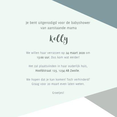 Hippe uitnodiging babyshower blauwe vlakken en gouden test 3