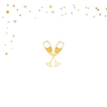 Hippe uitnodiging feestje met goud en zilver confetti 2