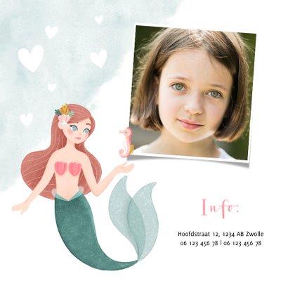 Hippe uitnodiging kinderfeestje zeemeermin zeepaardje & foto 2