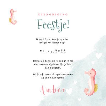 Hippe uitnodiging kinderfeestje zeemeermin zeepaardje & foto 3