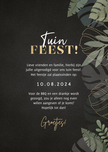 Hippe uitnodiging tuinfeest met junglekader en typografie 3