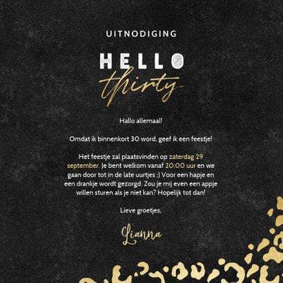Hippe uitnodiging verjaardag 30 jaar gouden panterprint 3