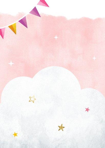 Hippe uitnodiging verjaardag kind met eenhoorn en sterretjes Achterkant