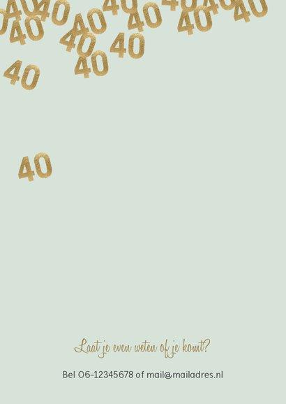 Hippe uitnodiging verjaardag man 40 confetti 2