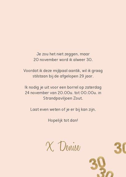Hippe uitnodiging verjaardag vrouw 30 confetti 3