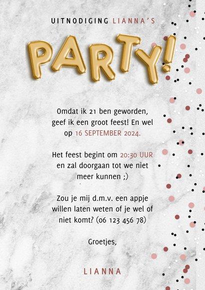 Hippe uitnodiging verjaardagsfeest met ballonnen en confetti 3