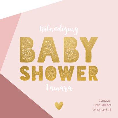 Hippe uitnodiging voor een babyshower met gekleurde vlakken  2