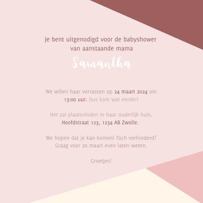 Hippe uitnodiging voor een babyshower met gekleurde vlakken  3