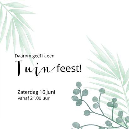 Hippe uitnodiging voor een tuinfeest met bladeren en foto 3