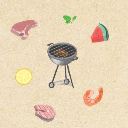 Hippe uitnodigingskaart voor een BBQ met illustraties 2