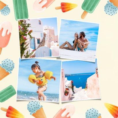 Hippe vakantiekaart met ijsjes en vakantie groetjes 2