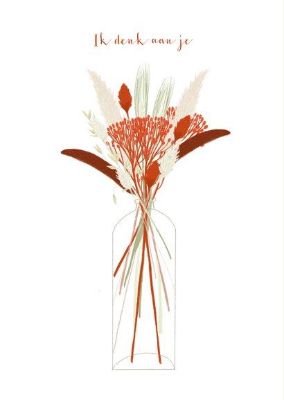Hippe valentijnskaart rode droogbloemen in vaas liefs 2