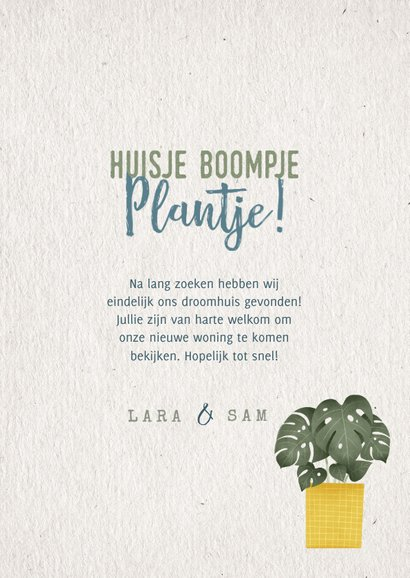 Hippe verhuiskaart huisje boompje plantje met planten 3