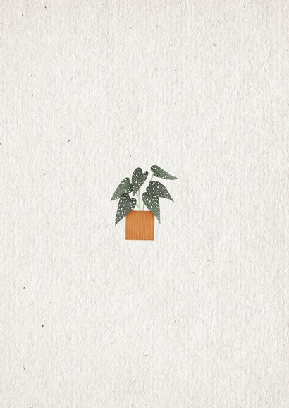 Hippe verhuiskaart huisje boompje plantje met planten Achterkant