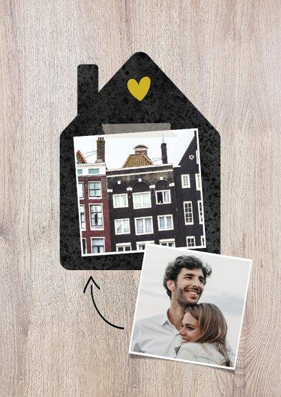 Hippe verhuiskaart met huisje, foto, typografie en adres 2
