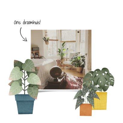 Hippe verhuiskaart met planten en tekst 'Nieuwe Woning!' 2