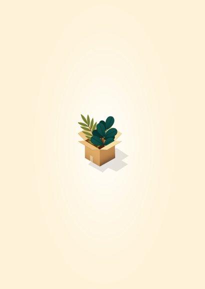 Hippe verhuiskaart 'New Home' met dozen, planten en kat Achterkant