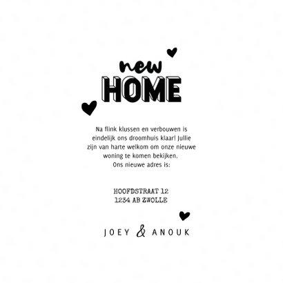 Hippe verhuiskaart typografie new home, kraft en hartjes 3