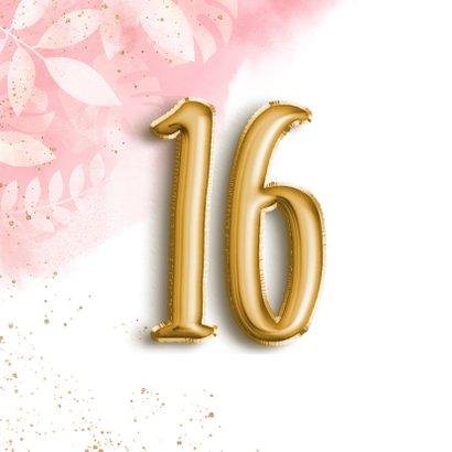 Hippe verjaardagskaart 16 botanisch waterverf & folieballon  2