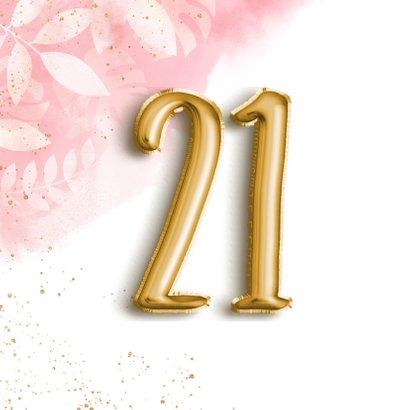 Hippe verjaardagskaart 21 botanisch, waterverf & folieballon 2