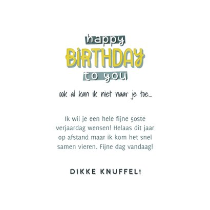 Hippe verjaardagskaart man Happy Birthday to you typografie 3