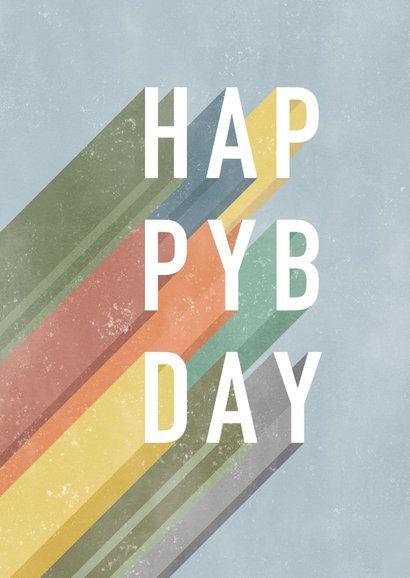 Hippe verjaardagskaart man Happy Birthday typografie 2