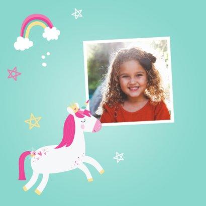 Hippe verjaardagskaart met eenhoorn 2