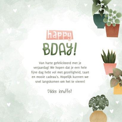 Hippe verjaardagskaart met plantjes, hartjes Happy Bday! 3