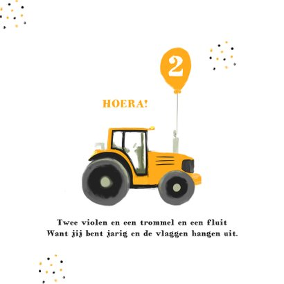 Hippe verjaardagskaart tractor confetti & foto 2