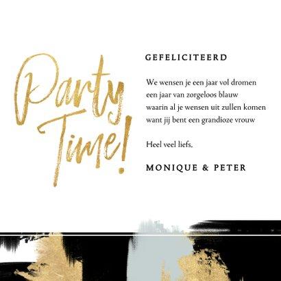 Hippe verjaardagskaart verf strepen en gouden typografie 3