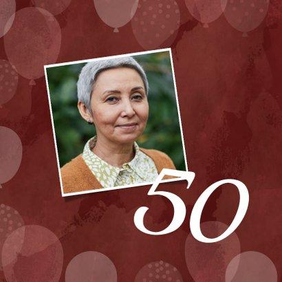 Hippe verjaardagskaart vrouw 50 jaar met ballonnen roze 2