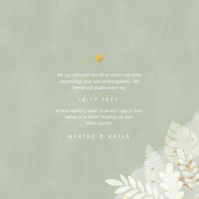 Hippe verlovingskaart junglebladeren, waterverf 'Engaged!' 3