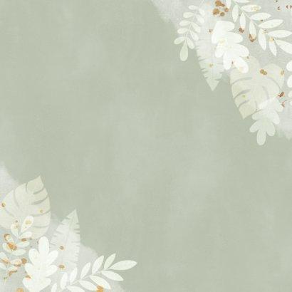 Hippe verlovingskaart junglebladeren, waterverf 'Engaged!' Achterkant