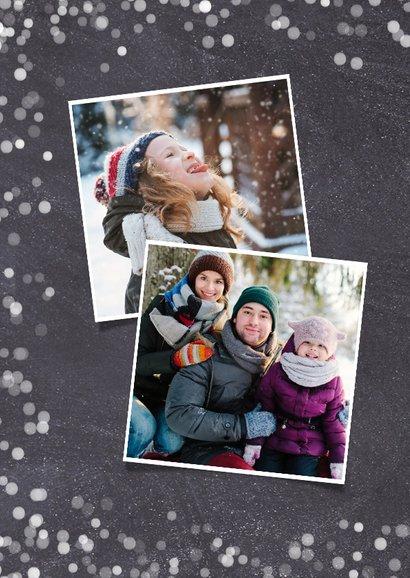 Hipper zwart witte confetti kerstkaart met eigen foto 2