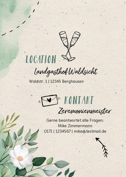 Hochzeitseinladung Blumen & Doodles mit Foto 2