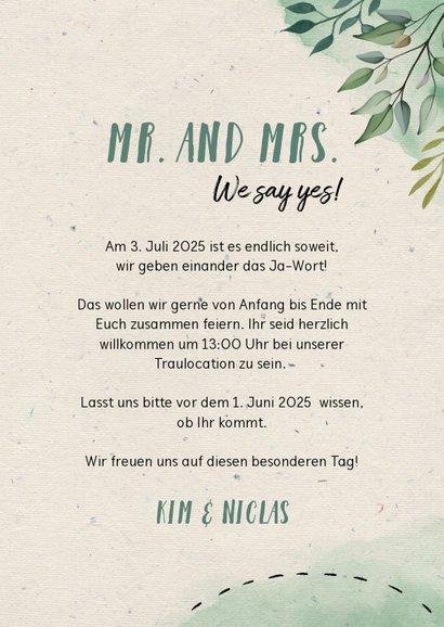 Hochzeitseinladung Blumen & Doodles mit Foto 3