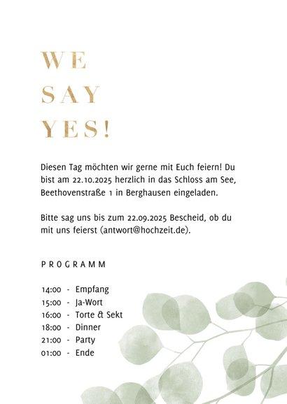 Hochzeitseinladung Eukalyptus 'we say yes' Foto innen 3