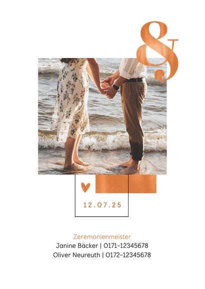 Hochzeitseinladung Kupfer grafisch Foto 2