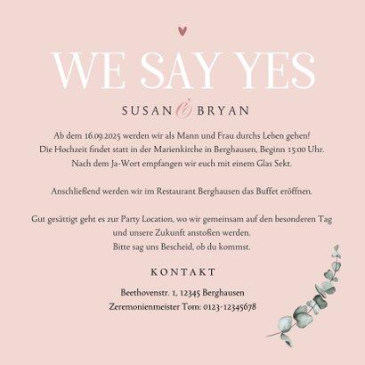 Hochzeitseinladung rosé Trockenblumen und Foto innen 3