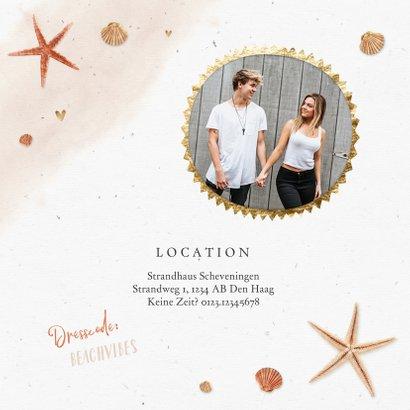 Hochzeitseinladung Strandlook mit eigenem Foto & Seesternen 2