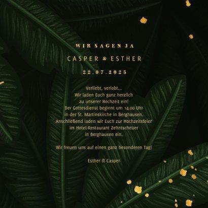 Hochzeitskarte Einladung Gold & Palmen 3