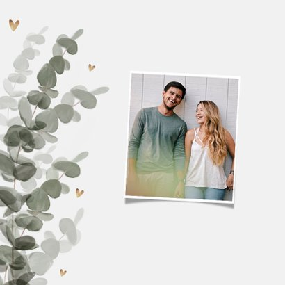 Hochzeitskarte Eukalyptusblätter Terminänderung 2