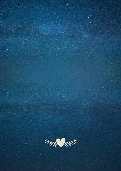 Hochzeitskarte neues Datum Silhouette Mond Rückseite