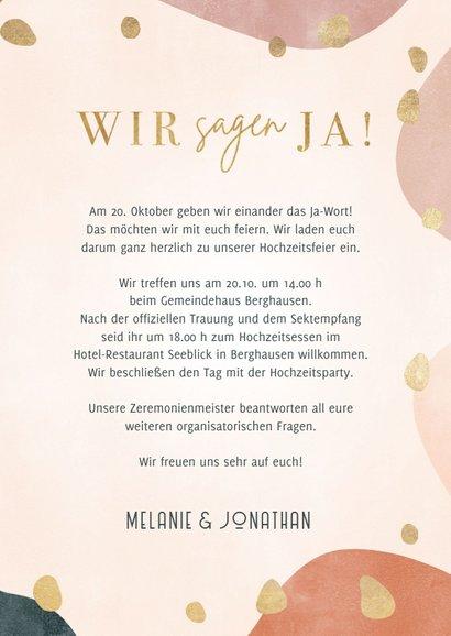 Hochzeitskarte 'Wir sagen ja' geometrisch & organisch 3