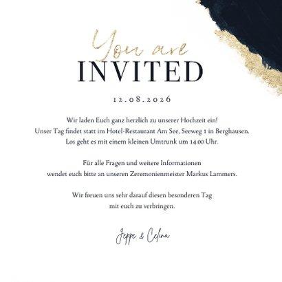 Hochzeitskarte 'Yes! We do' Aquarell schwarz-gold 3