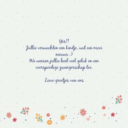 Hoera zwanger - dots and flowers - felicitatiekaart 3