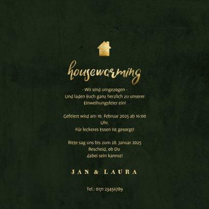 Housewarming Einladung botanisch mit goldener Schrift 3