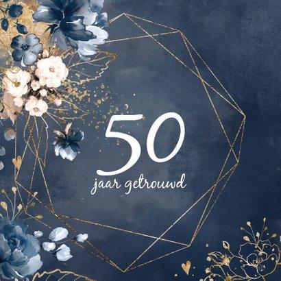 Huwelijksjubileum 50 uitnodiging aquarel bloemen  2