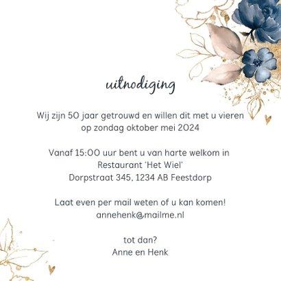 Huwelijksjubileum 50 uitnodiging aquarel bloemen  3