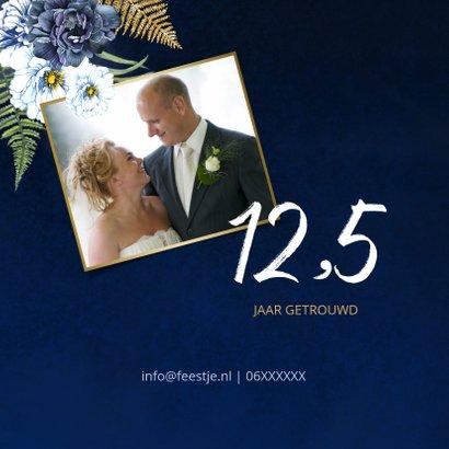 Huwelijksjubileum blauwe pioen goud 2